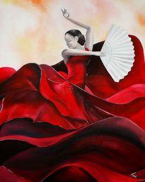 Frau, Flamenco, Ölmalerei, Tanz