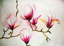 Blumen, Magnolien, Pflanzen, Aquarellmalerei