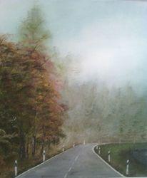 Acrylmalerei, Bahn, Landschaft, Nebel