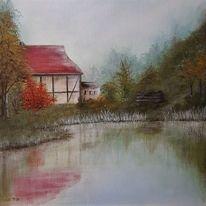 Hütte, Landschaftsmalerei, Herbstwald, Pflanzen