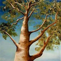 Baum, Himmel, Blätter, Stimmung
