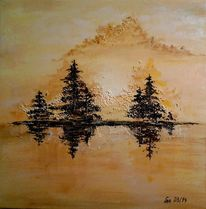 Idylle, Struktur, Acrylmalerei, Frieden