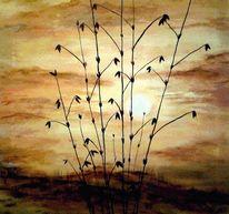 Acrylmalerei, Orange, Sonne, Korn