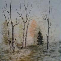 Wald, Landschaft, Malerei, Schnee