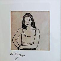 Frau, Federzeichnung, Portrait, Mädchen