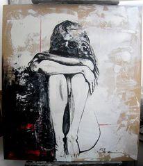 Frau, Seele, Holz, Rot schwarz