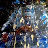 Malerei, Acrylmalerei, Blau, Stadt