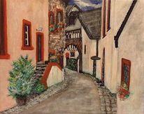 Mittelalter, Idylle, Dorf, Acrylmalerei