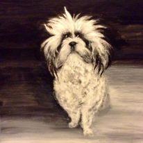 Wasserfarben, Weiß, Hund, Gemälde
