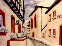 Eifel, Romantik, Aquarellmalerei, Winter