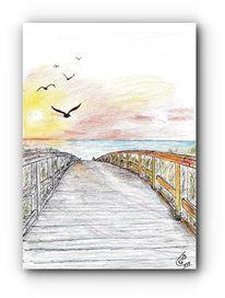 Sonnenuntergang, Meer, Strand, Zeichnungen