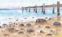 Auf papier, Strand, Aquarellmalerei, Steg