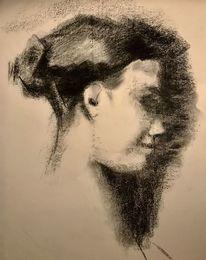 Menschen, Kohlezeichnung, Schatten, Haare