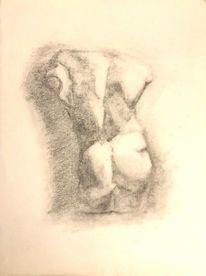 Kohlezeichnung, Mann, Schwarz, Muskulatur