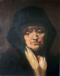 Gesicht, Klassik, Alte frau, Schichtmalerei