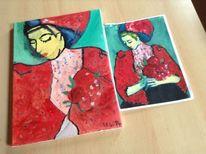 Malerei, Pfingstrosen, Ölmalerei, Hände