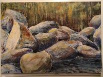 Steine felsen, Malerei, Felsen, Wasser