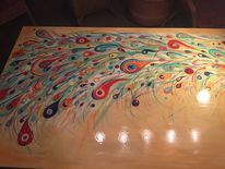 Tisch, Malen, Pfau, Malerei
