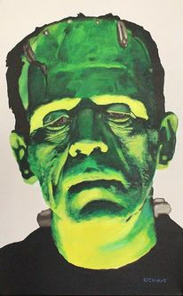 Frankenstein, Boris karloff, Portrait, Malerei
