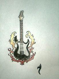 Feuer, Tattoo, Gitarre, Zeichnungen
