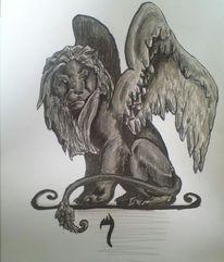 Tusche, Flügel, Grau, Löwe