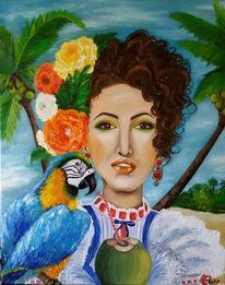 Papagei, Landschaft, Karibik, Gemälde