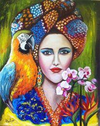 Gemälde, Papageitaucher, Bunt, Frau