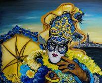 Venedig, Kunstwerk, Karneval in venedig, Masken und kostümen