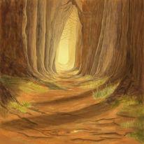 Weg, Baum, Herbst, Malerei