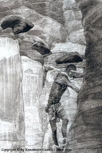 Fantasie, Surreal, Landschaft, Zeichnung mensch berg