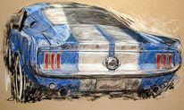 Ford, Mustang, Oldtimer, Zeichnungen