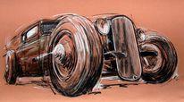 Pastellmalerei, Zeichnung, Hotrod, Oldtimer