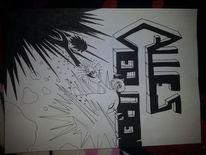 Anime, Schwar, Weiß, Zeichnungen