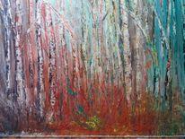 Modern, Abstrakt acryl, Birken, Wald