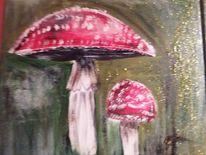 Acrylbild mit glitzer, Rot, Pilze, Fliegenpliz