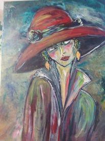 Portrait, Spachteltechnik, Frau mit hut, Acrylmalerei
