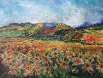 Herbst, Landschaft, Acrylmalerei, Malerei
