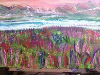 See, Blumen, Berge, Malerei