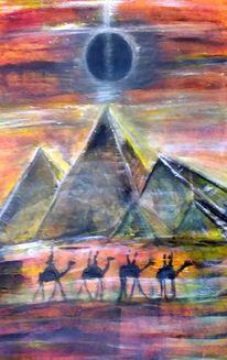 Malen, Acrylmalerei, Pyramiden bei nacht, Mond