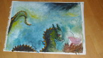 Malerei, Schwarz, Fantasie, Bunt