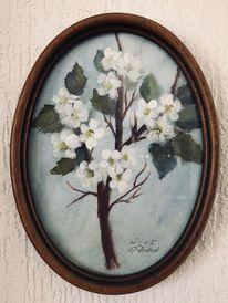 Blüte, Äste, Apfel, Malerei