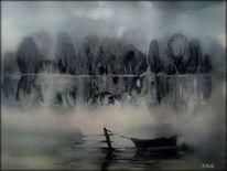 Waldrand, See, Wasser, Kahn