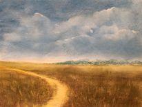 Wanderweg, Berge, Wiese, Malerei