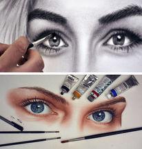 Frau, Malen, Augen malen, Augen