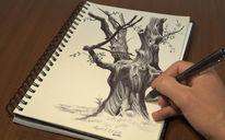 Buntstifte, Baum zeichnen, Natur, Baum