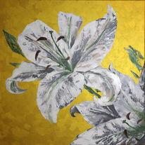 Malen, Ölmalerei, Weiß, Blumen