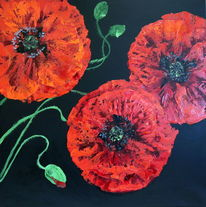 Malen, Blumen, Rot, Pflanzen