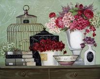 Gemälde, Stillleben, Ölmalerei, Blumen
