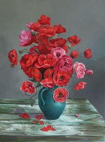 Ölmalerei, Klatschmohn, Rot, Gemälde