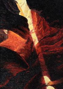 Schlucht, Spachtel, Wüste, Ölmalerei